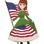 A Japanese chibi of Lucy Hood, posing with an American flag and lifting her dress to show the flag beneath