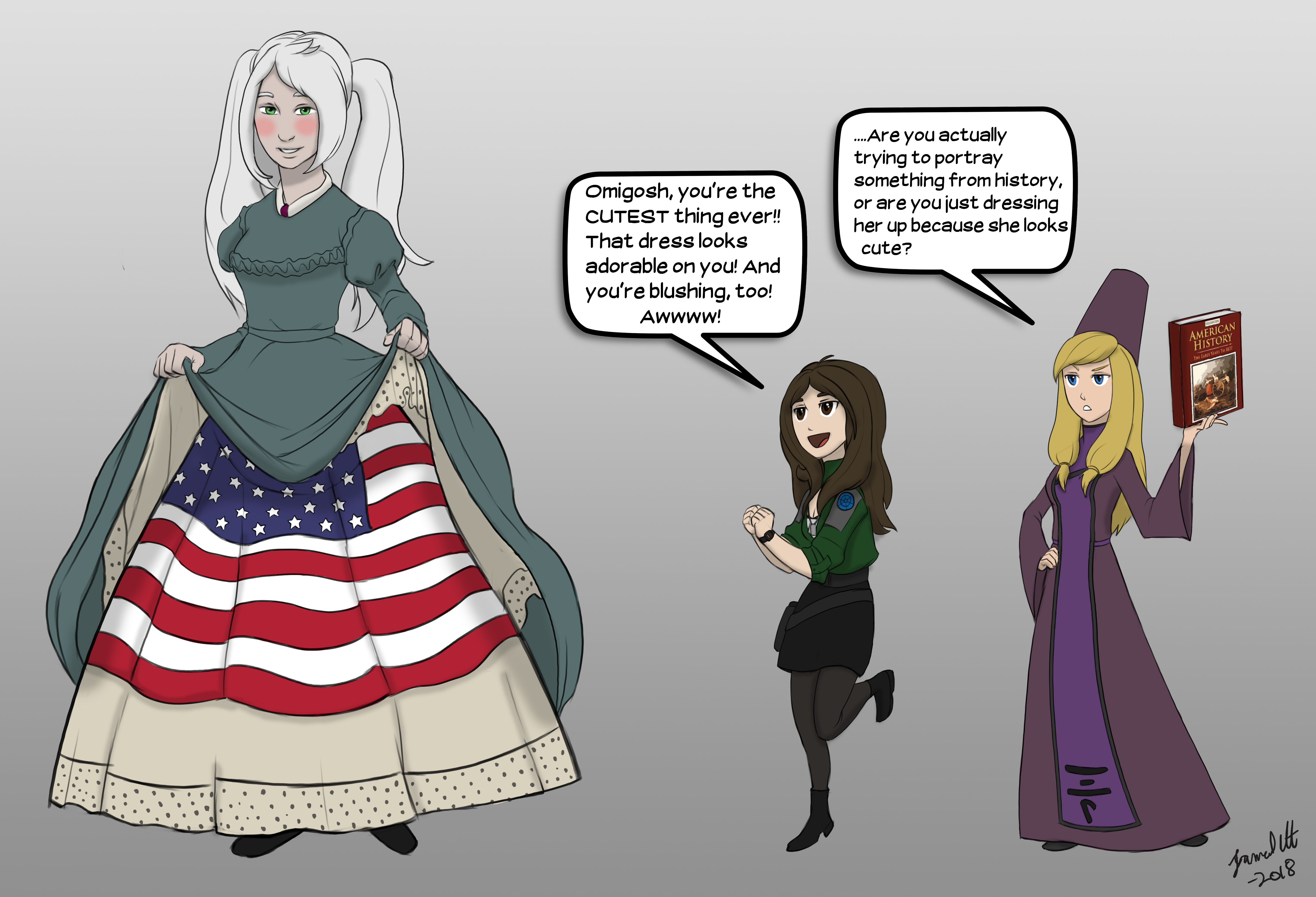 Part of the starship crew Dawnstar, involved in the historical reenactment of the petticoat flag. Novia is lifiting her dress and petticoats to show the Union flag beneath. Crewmembers Yorina and Haley are off to the side, making remarks on her outfit.